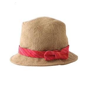 Grace Strawberry Striped Woven Linen Bucket Hat